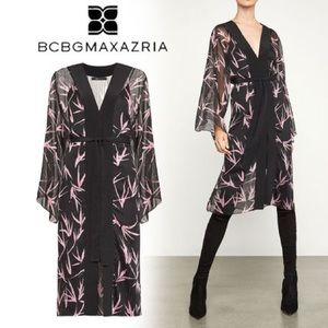 NEW w tags BCBGMAXAZRIA lilac print robe  dress